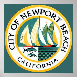 ニューポートビーチ、カリフォルニアのシール ポスター