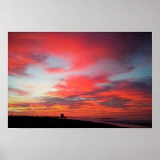 ニューポートビーチ、カリフォルニアの日の出 ポスター