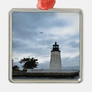 ニューポート港の灯台 メタルオーナメント