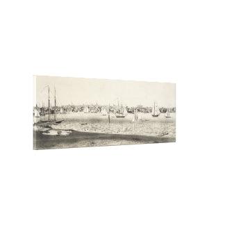 ニューポートRI (1860年)のヴィンテージの絵解き地図 キャンバスプリント