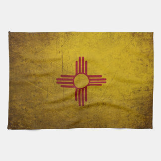 ニューメキシコの旗のグランジな一見 キッチンタオル