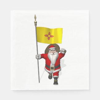 ニューメキシコの旗を持つおもしろいなサンタクロース スタンダードランチョンナプキン