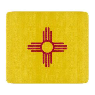 ニューメキシコの旗を持つ小さいガラスまな板 カッティングボード