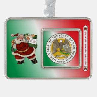 ニューメキシコサンタクロースのクリスマスのオーナメント シルバープレートフレームオーナメント