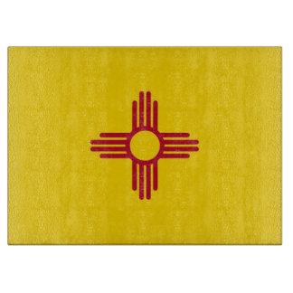ニューメキシコ、米国の旗を持つガラスまな板 カッティングボード
