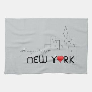 ニューヨークで常に幸せ ハンドタオル