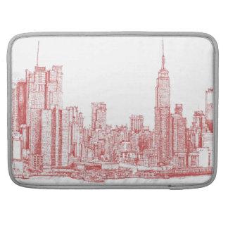 ニューヨークのスカイラインのピンクの赤 MacBook PROスリーブ