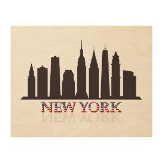 ニューヨークのスカイライン ウッドウォールアート