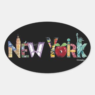 ニューヨークのステッカー 楕円形シール