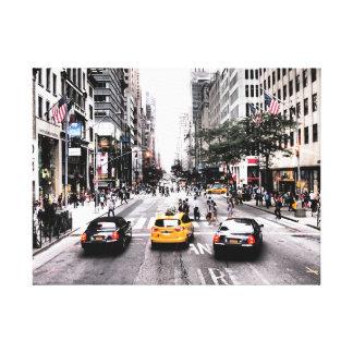 ニューヨークのタクシーの通り場面 キャンバスプリント