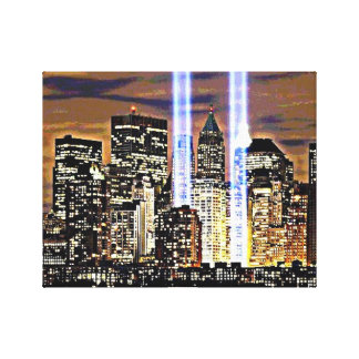 ニューヨークのツインタワーの光ビーム キャンバスプリント
