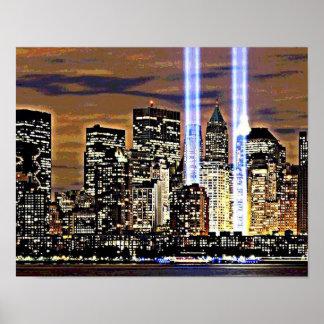 ニューヨークのツインタワーの光ビーム ポスター