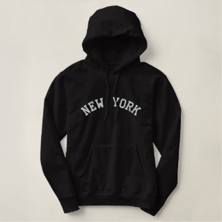 ニューヨークのフード付きスウェットシャツ 刺繍入りパーカ