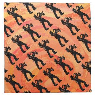 ニューヨークのブギウギ夜サクソフォーンのオレンジ ナプキンクロス