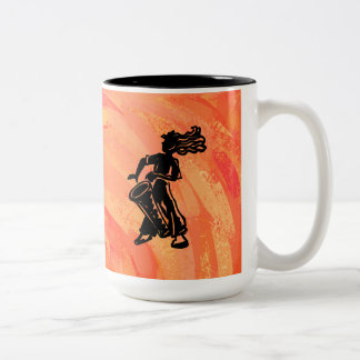 ニューヨークのブギウギ夜ドラムオレンジ ツートーンマグカップ