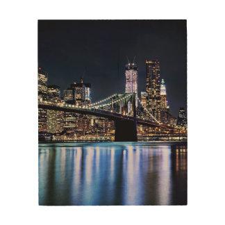 ニューヨークのブルックリン橋の反射の眺め ウッドウォールアート
