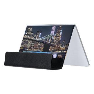ニューヨークのブルックリン橋の反射の眺め デスク名刺ホルダー