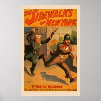 ニューヨークのブロードウェイのヴィンテージポスターの歩道 ポスター
