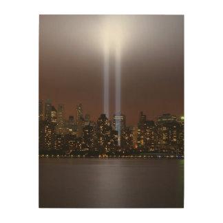 ニューヨークのライトの世界貿易センター捧げ物。 ウッドウォールアート