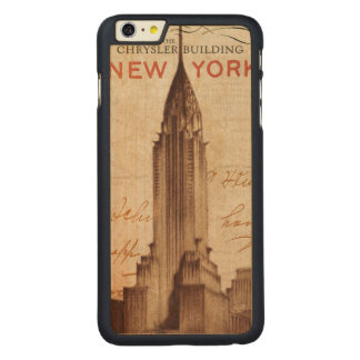 ニューヨークのヴィンテージのクライスラの建物 CarvedメープルiPhone 6 PLUS スリムケース