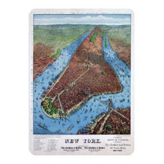 ニューヨークのヴィンテージの空中写真は1879年を元通りにしました カード