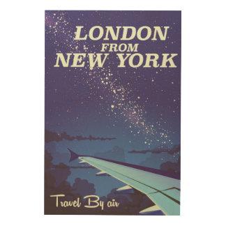 ニューヨークのヴィンテージ飛行ポスターからのロンドン ウッドウォールアート