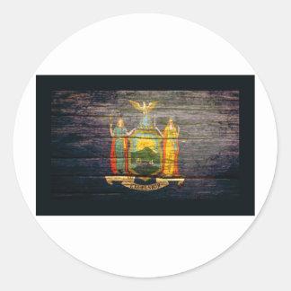 ニューヨークの旗の古い木 ラウンドシール