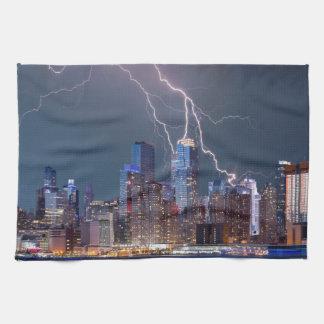 ニューヨークの稲妻の嵐 キッチンタオル
