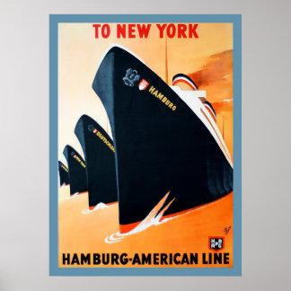 ニューヨークの船ポスターへの1927年のハンブルク ポスター
