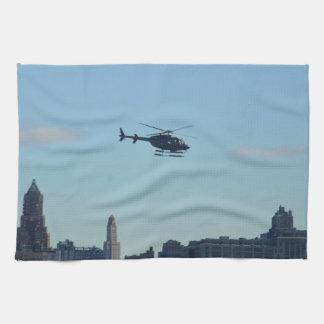 ニューヨークの観光のヘリコプター キッチンタオル