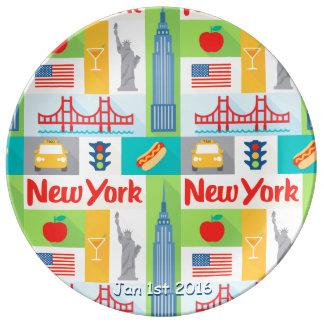 ニューヨークの記念する日付の磁器皿 磁器プレート