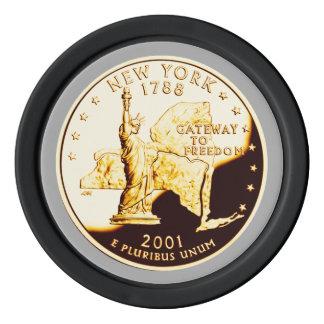 ニューヨークの証拠の金ゴールドの州の四分の一 ポーカーチップ