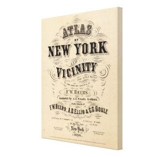 ニューヨークの近辺のとびらの地図書 キャンバスプリント