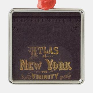 ニューヨークの近辺の地図書 メタルオーナメント