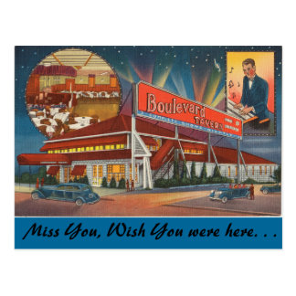 ニューヨークの通りの居酒屋、サパークラブ ポストカード