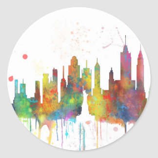 ニューヨークのNYのスカイライン-円形のステッカー ラウンドシール