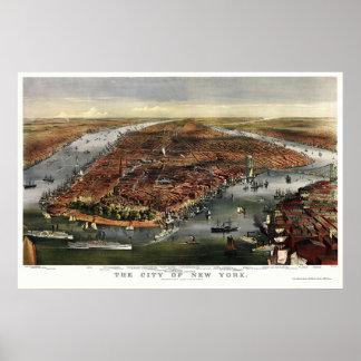 ニューヨークのNYのパノラマ式の地図- 1870年 ポスター