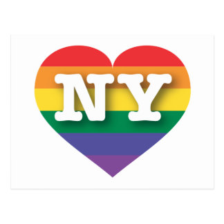 ニューヨークゲイプライドの虹のハート-大きい愛 ポストカード