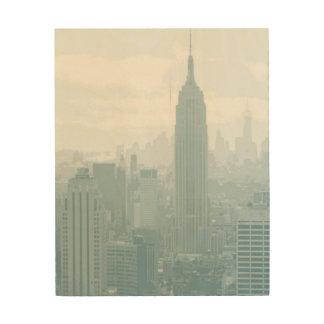 ニューヨークシティのかすんでいる青いスカイライン ウッドウォールアート