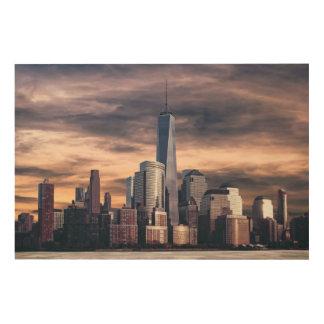 ニューヨークシティのスカイラインの冬 ウッドウォールアート