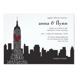 ニューヨークシティのスカイラインの都市景観の結婚式招待状 12.7 X 17.8 インビテーションカード
