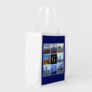 ニューヨークシティのスカイライン8のイメージの写真のコラージュ エコバッグ