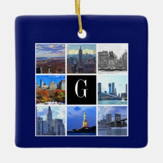ニューヨークシティのスカイライン8のイメージの写真のコラージュ セラミックオーナメント
