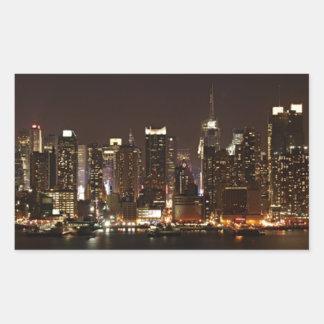 ニューヨークシティのスカイライン 長方形シール