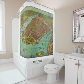 ニューヨークシティのヴィンテージ1889の地図 シャワーカーテン
