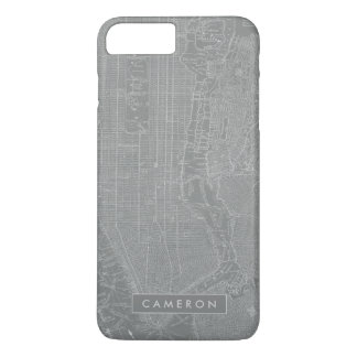 ニューヨークシティの地図のスケッチ iPhone 8 PLUS/7 PLUSケース