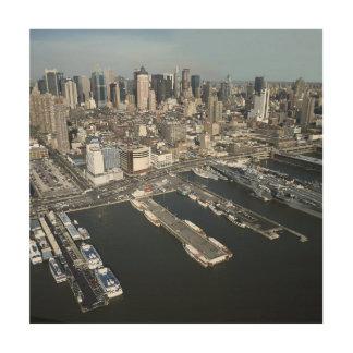ニューヨークシティの港 ウッドウォールアート