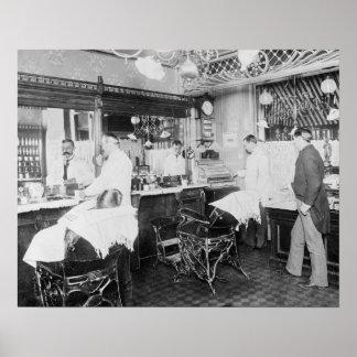 ニューヨークシティの理髪店1895年。 ヴィンテージの写真 ポスター