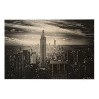 ニューヨークシティの白黒スカイライン ウッドウォールアート