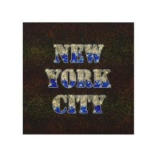 ニューヨークシティの銀製の青いグリッター ウッドウォールアート